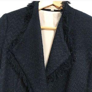 Walter Anthropologie silk lined fringe blazer.